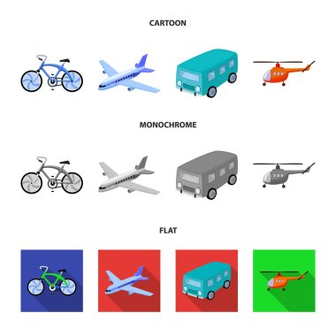 Bicycle, airplane, bus, helicopter types of transport. Transport set collection icons in cartoon,flat,monochrome style vector symbol stock illustration web.