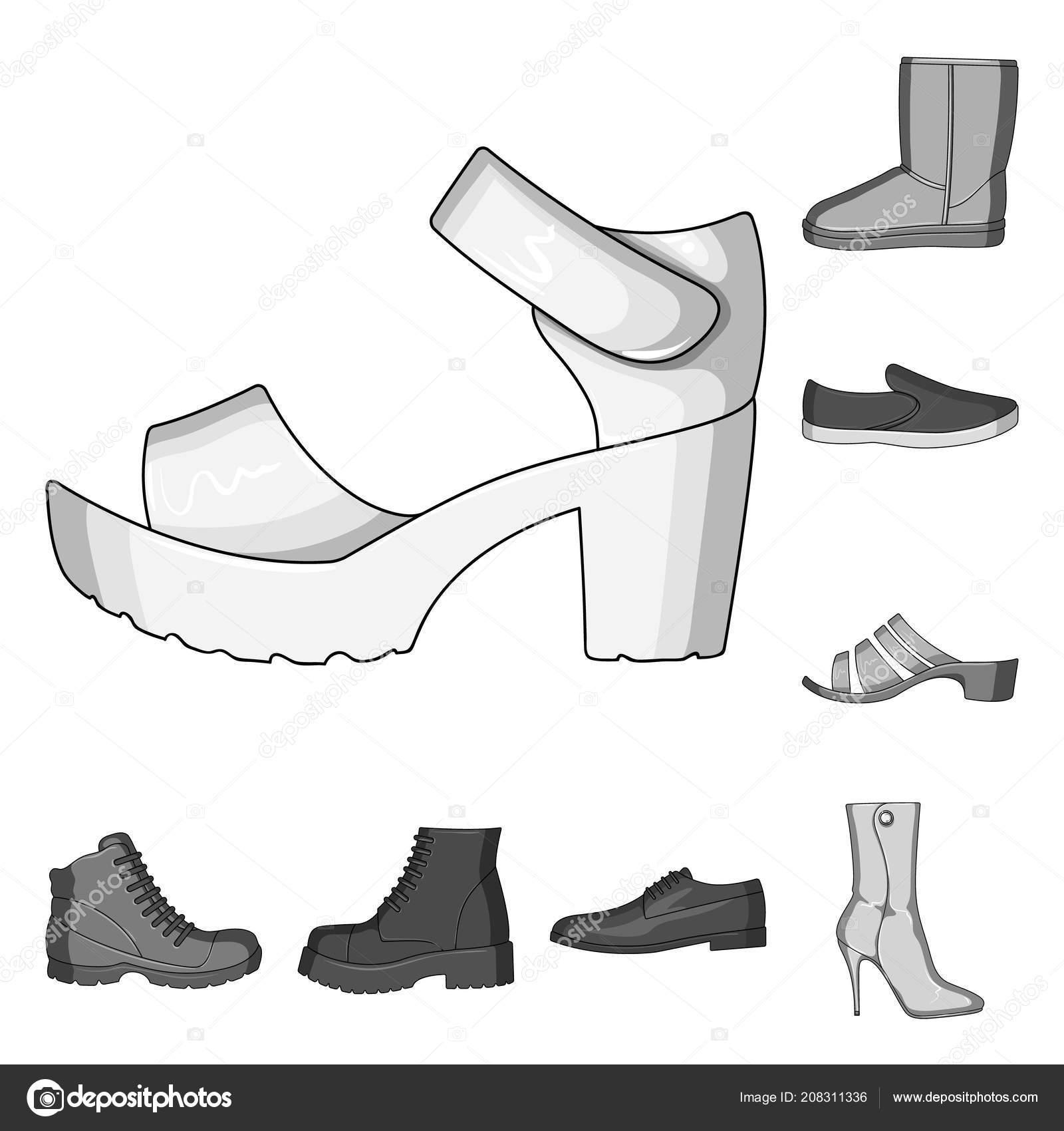 Iconos Diseño Zapatos Monocromo Los De Colección Diferentes Set 1ft0fxB