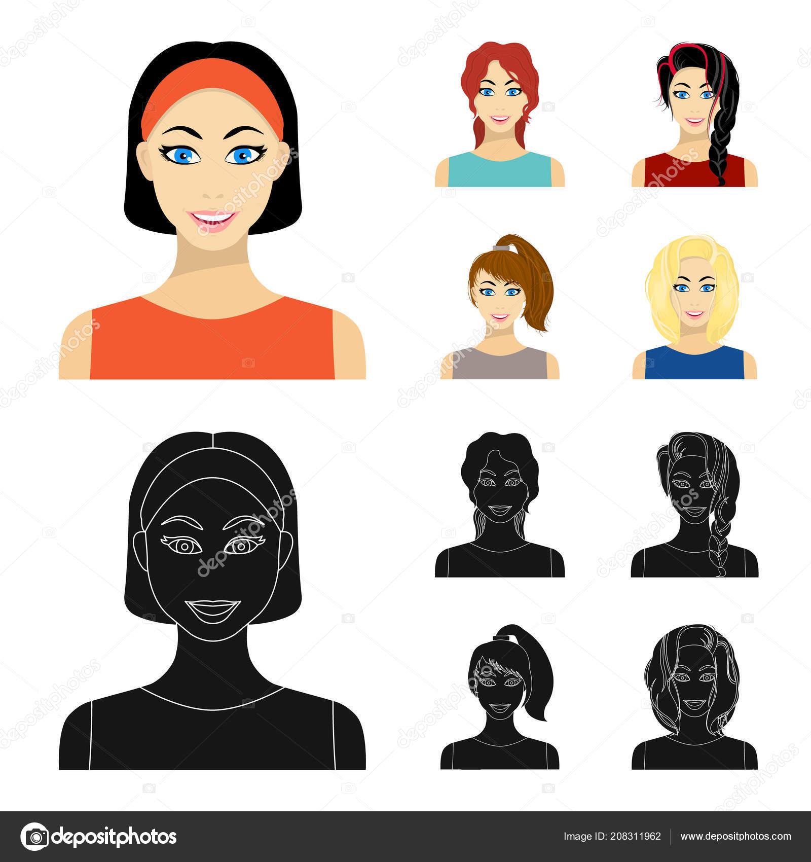 Rodzaje Fryzury Kobiece Kreskówka Czarny Ikony W Kolekcja