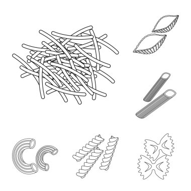 Types of pasta outline icons in set collection for design. Figured macaroni for eating vector symbol stock web illustration.
