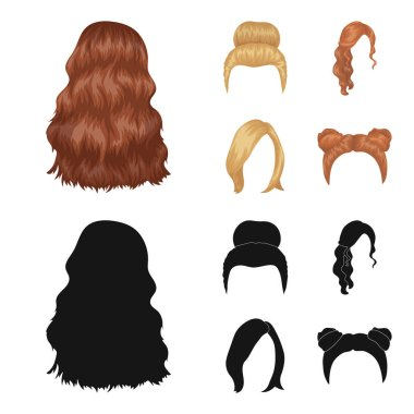 Blond with a bunch, red wavy and other types of hair. Back hair set collection icons in cartoon,black style vector symbol stock illustration web.