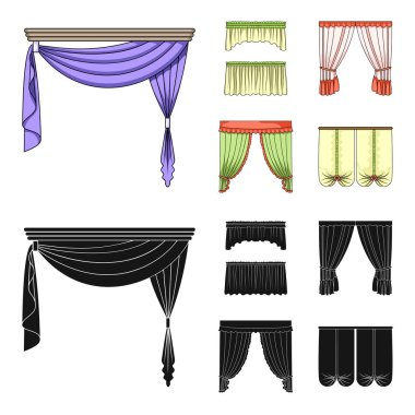 Different types of window curtains.Curtains set collection icons in cartoon,black style vector symbol stock illustration web.
