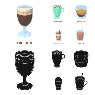 Ristretto, hot chocolate, latte take-away.Different types of coffee set collection icons in cartoon,black style vector symbol stock illustration web.
