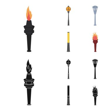 Lamppost in retro style, modern lantern, torch and other types of streetlights. Lamppost set collection icons in cartoon,black style vector symbol stock illustration web.
