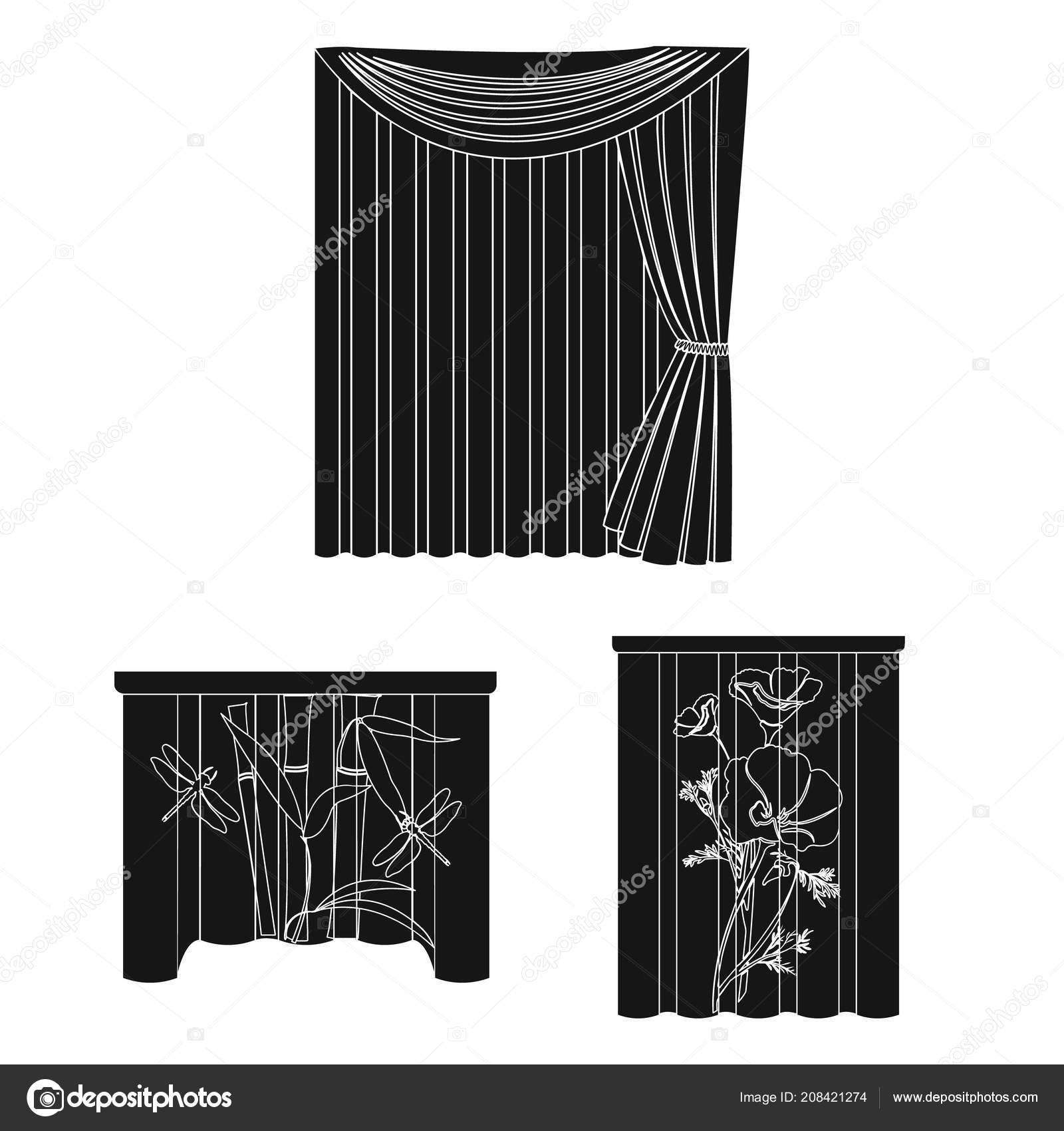 Verschillende soorten gordijnen zwarte pictogrammen in set collectie ...