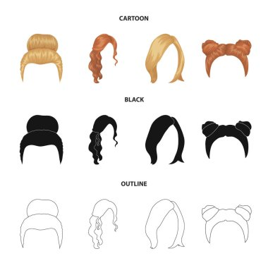 Blond with a bunch, red wavy and other types of hair. Back hair,set collection icons in cartoon,black,outline style vector symbol stock illustration .
