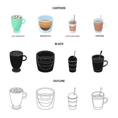 Ristretto, hot chocolate, latte take-away.Different types of coffee set collection icons in cartoon,black,outline style vector symbol stock illustration web.