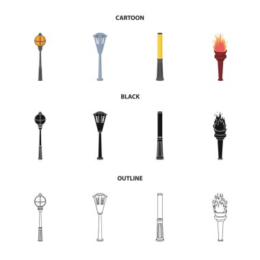 Lamppost in retro style, modern lantern, torch and other types of streetlights. Lamppost set collection icons in cartoon,black,outline style vector symbol stock illustration web.