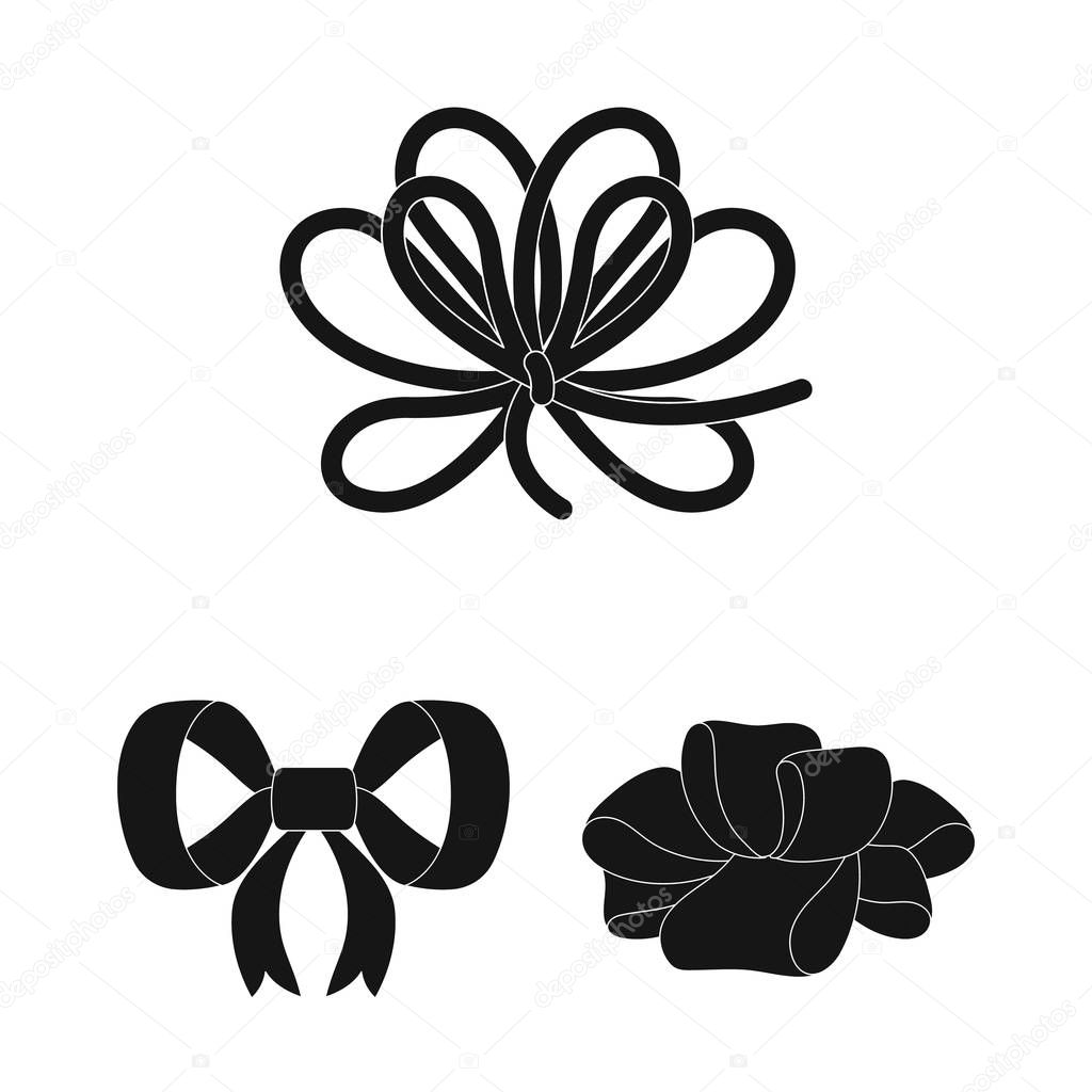 Multicolored bows black icons in set collection for design.Bow for decoration vector symbol stock web illustration.