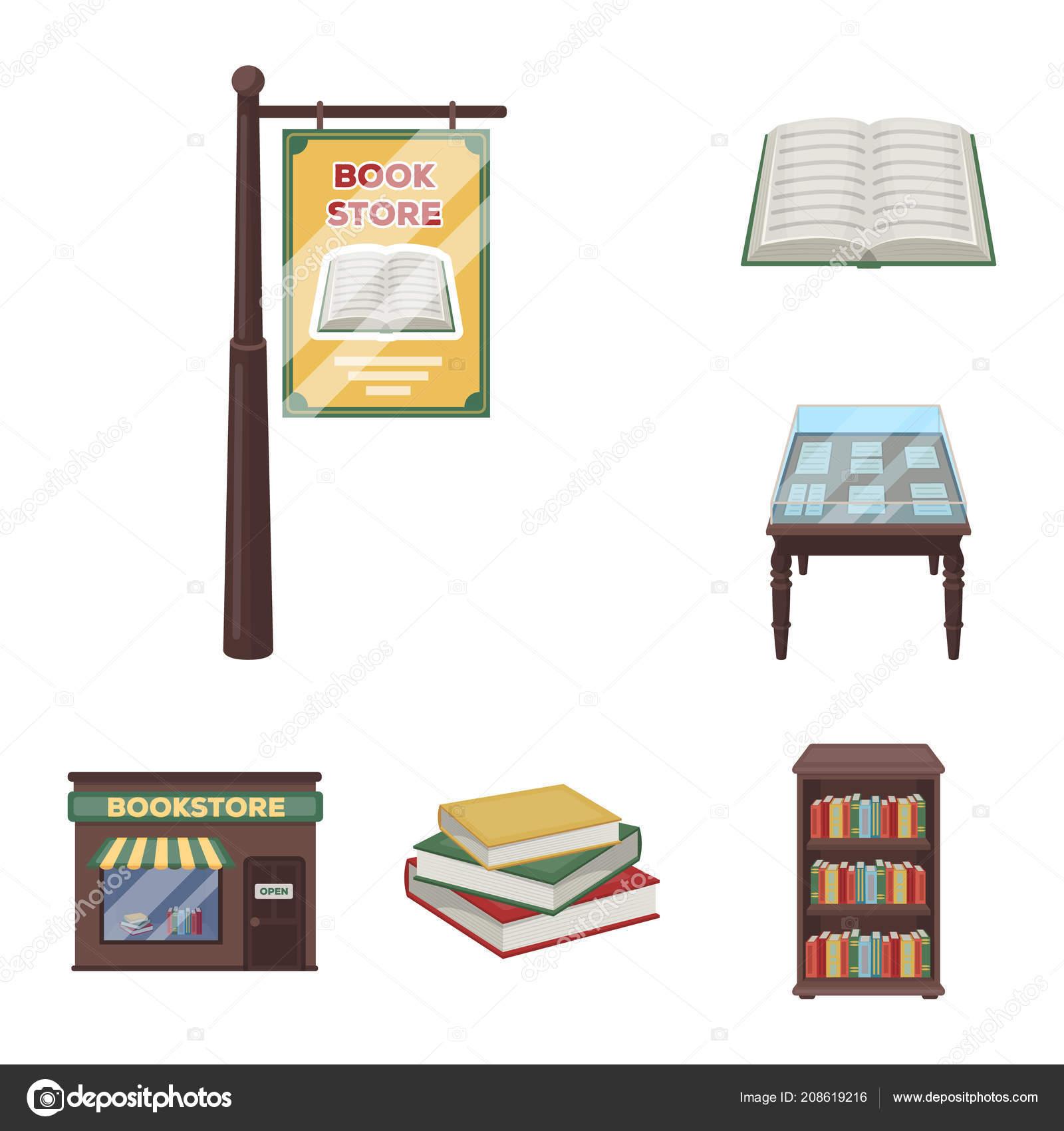 Ikony Kreskówka Biblioteki I Księgarni W Kolekcja Zestaw Do