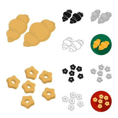 Types of pasta cartoon,black,flat,monochrome,outline icons in set collection for design. Figured macaroni for eating vector symbol stock web illustration.