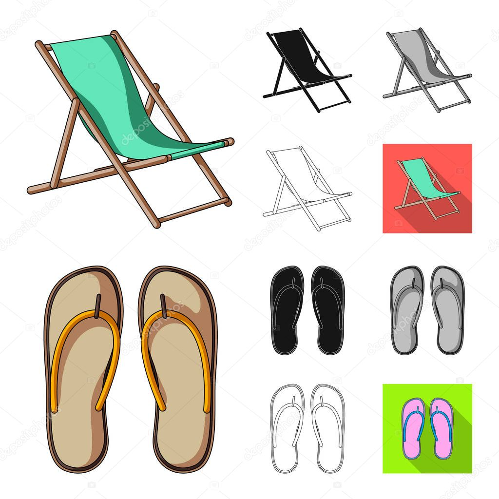 Summer rest cartoon,black,flat,monochrome,outline icons in set collection for design. Beach accessory vector symbol stock web illustration.