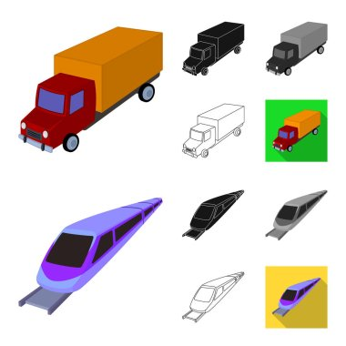 Different types of transport cartoon,black,flat,monochrome,outline icons in set collection for design. Car and ship vector symbol stock web illustration.