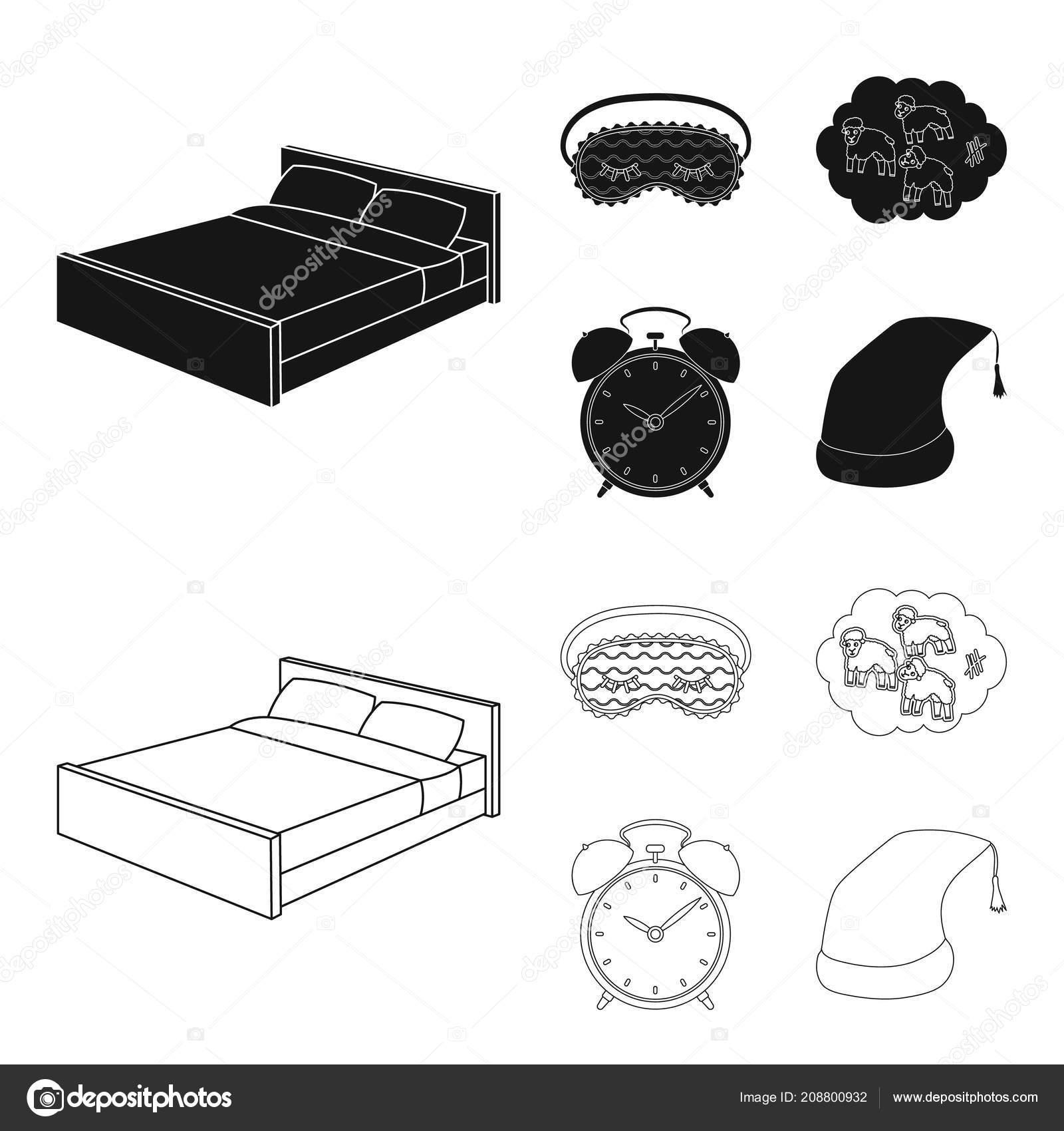 Ein Bett Eine Augenbinde Rams Wecker Zu Zählen Ruhe Und Schlaf