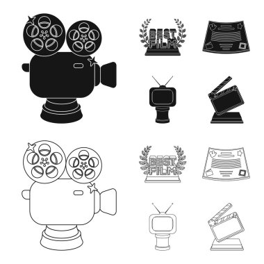 Silver camera. A bronze prize in the form of a TV and other types of prizes.Movie award,sset collection icons in black,outline style vector symbol stock illustration web.