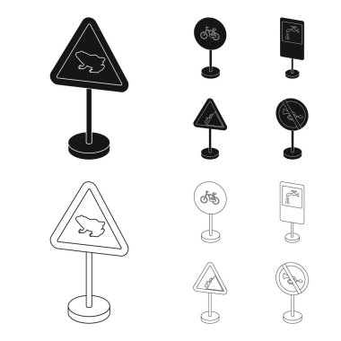 Different types of road signs black,outline icons in set collection for design. Warning and prohibition signs vector symbol stock web illustration.