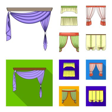 Different types of window curtains.Curtains set collection icons in cartoon,flat style vector symbol stock illustration web.