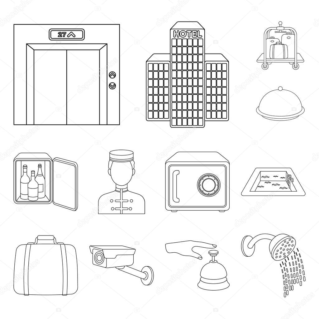 Hotel and equipment outline icons in set collection for design. Hotel and comfort vector symbol stock web illustration.