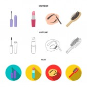 Wimperntusche, Haarbürste, Lippenstift, Augenbrauenstift, Make-up-Set Sammlung Symbole in Cartoon, Umriss, flachen Stil Vektor Symbol Stock Illustration Web.