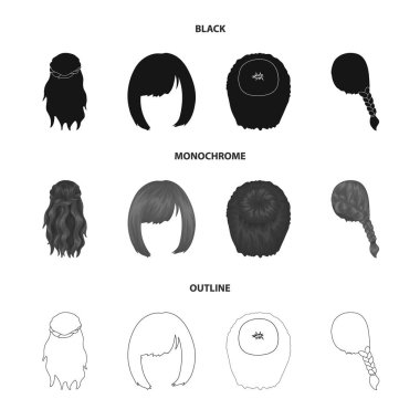 Kara, red braid and other types of hairstyles. Back hairstyle set collection icons in black,monochrome,outline style vector symbol stock illustration web.
