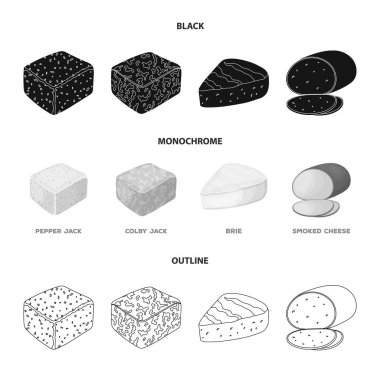 Brynza, smoked, colby jack, pepper jack.Different types of cheese set collection icons in black,monochrome,outline style vector symbol stock illustration web.