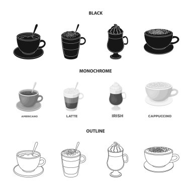 American, late, irish, cappuccino.Different types of coffee set collection icons in black,monochrome,outline style vector symbol stock illustration web.