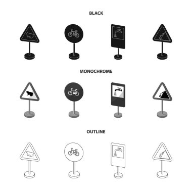 Different types of road signs black,monochrome,outline icons in set collection for design. Warning and prohibition signs vector symbol stock web illustration.