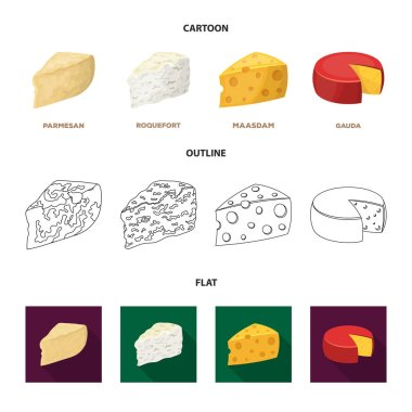Parmesan, roquefort, maasdam, gauda.Different types of cheese set collection icons in cartoon,outline,flat style vector symbol stock illustration web.
