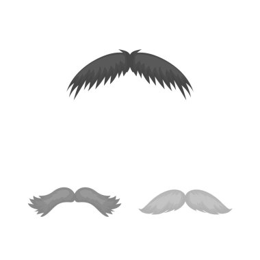 Mustache and beard, hairstyles monochrome icons in set collection for design. Stylish haircut vector symbol stock web illustration.