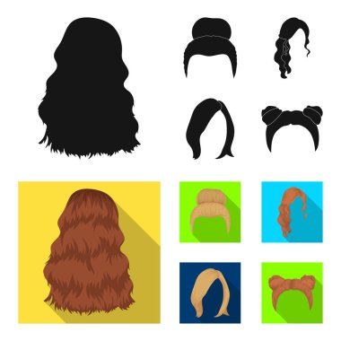 Blond with a bunch, red wavy and other types of hair. Back hair set collection icons in black,flat style vector symbol stock illustration web.