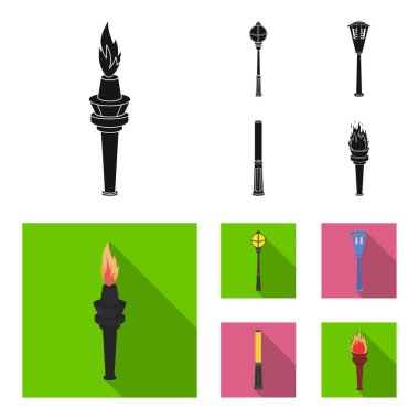 Lamppost in retro style, modern lantern, torch and other types of streetlights. Lamppost set collection icons in black,flat style vector symbol stock illustration web.