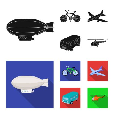 Bicycle, airplane, bus, helicopter types of transport. Transport set collection icons in black,flat style vector symbol stock illustration web.
