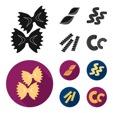 Different types of pasta. Types of pasta set collection icons in black,flat style vector symbol stock illustration .
