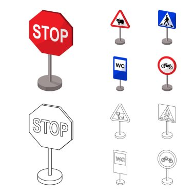 Different types of road signs cartoon,outline icons in set collection for design. Warning and prohibition signs vector symbol stock web illustration.