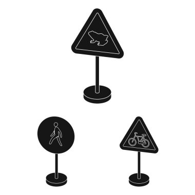 Different types of road signs black icons in set collection for design. Warning and prohibition signs vector symbol stock web illustration.