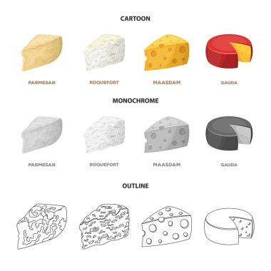 Parmesan, roquefort, maasdam, gauda.Different types of cheese set collection icons in cartoon,outline,monochrome style vector symbol stock illustration web.