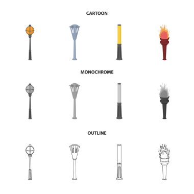 Lamppost in retro style, modern lantern, torch and other types of streetlights. Lamppost set collection icons in cartoon,outline,monochrome style vector symbol stock illustration web.