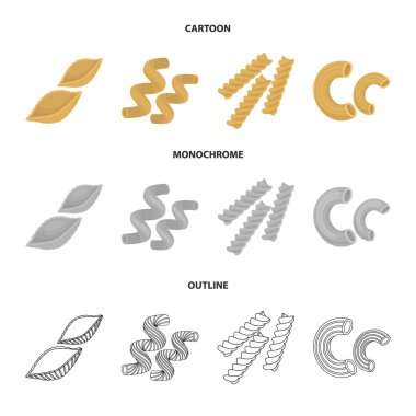 Different types of pasta. Types of pasta set collection icons in cartoon,outline,monochrome style vector symbol stock illustration web.