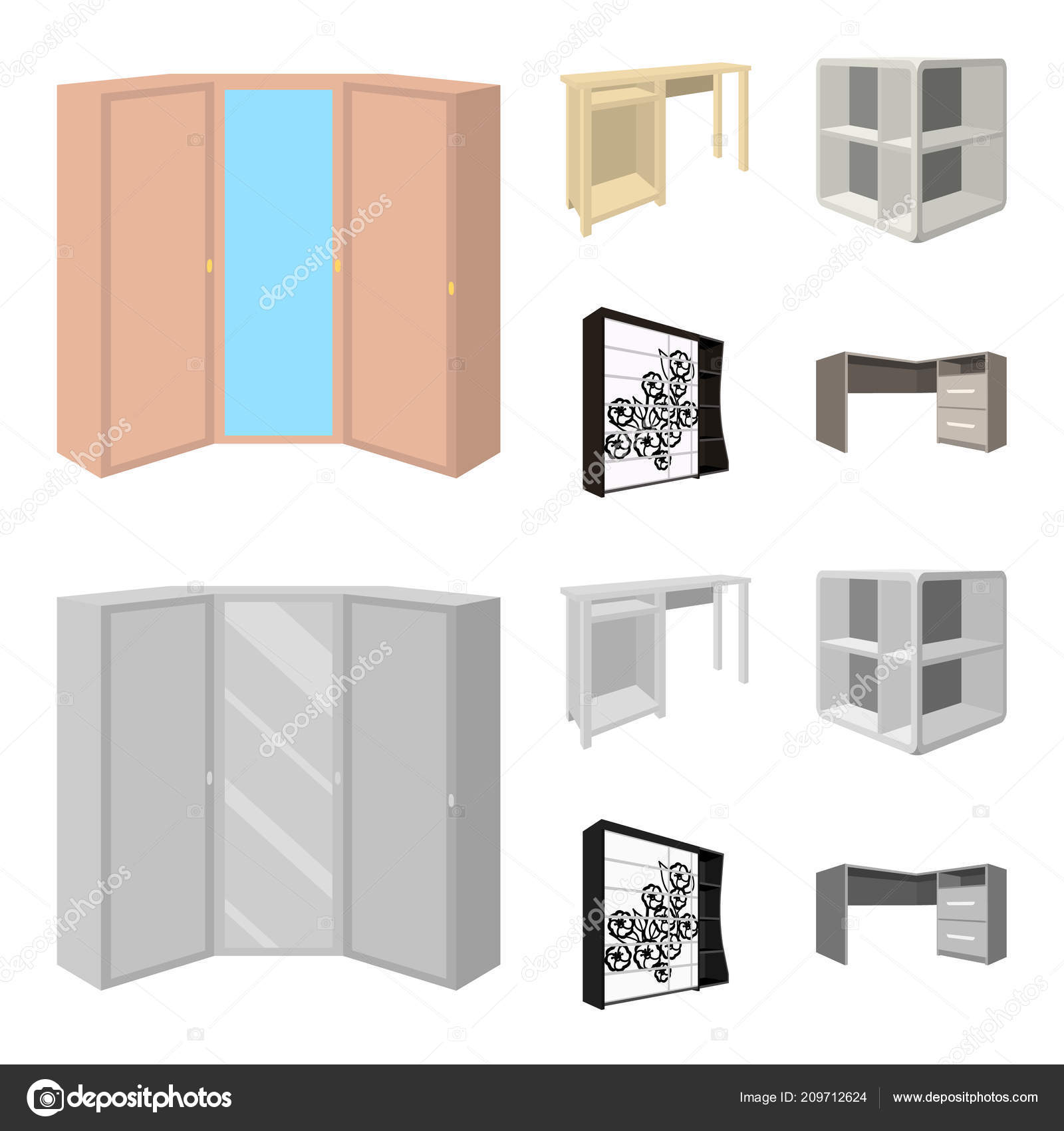 Dressing Table Corner Shelves Computer Desk Wardrobe With Glass Bedroom Furniture Set Collection Icons In Cartoon Monochrome Style Vector Symbol Stock Illustration Web Vector Image By C Pandavector Vector Stock 209712624