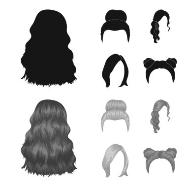 Blond with a bunch, red wavy and other types of hair. Back hair set collection icons in black,monochrome style vector symbol stock illustration web.