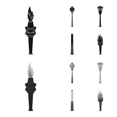Lamppost in retro style, modern lantern, torch and other types of streetlights. Lamppost set collection icons in black,monochrome style vector symbol stock illustration web.