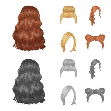 Blond with a bunch, red wavy and other types of hair. Back hair set collection icons in cartoon,monochrome style vector symbol stock illustration web.