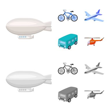 Bicycle, airplane, bus, helicopter types of transport. Transport set collection icons in cartoon,monochrome style vector symbol stock illustration web.