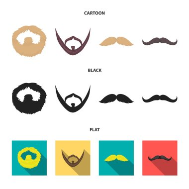 Mustache and beard, hairstyles cartoon,black,flat icons in set collection for design. Stylish haircut vector symbol stock  illustration.