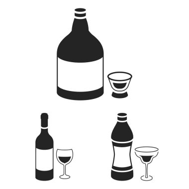 Types of alcohol black icons in set collection for design. Alcohol in bottles vector symbol stock web illustration.