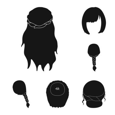 Female hairstyle black icons in set collection for design. Stylish haircut vector symbol stock  illustration.