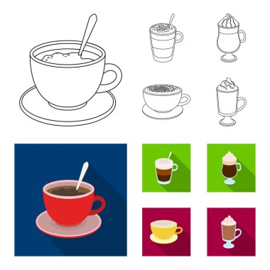 American, late, irish, cappuccino.Different types of coffee set collection icons in outline,flat style vector symbol stock illustration web.