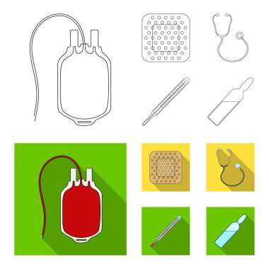 Package with donor blood and other equipment.Medicine set collection icons in outline,flat style vector symbol stock illustration web.