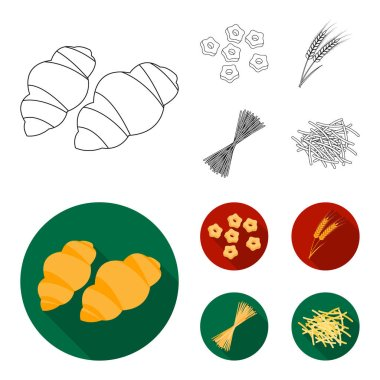 Different types of pasta. Types of pasta set collection icons in outline,flat style vector symbol stock illustration web.