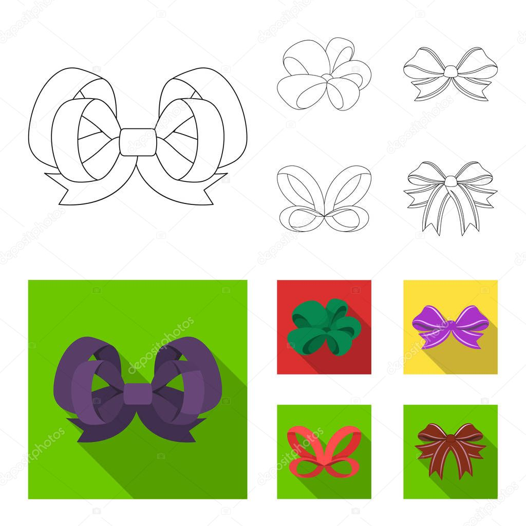 Ornamentals, frippery, finery and other web icon in outline,flat style.Bow, ribbon, decoration, icons in set collection.